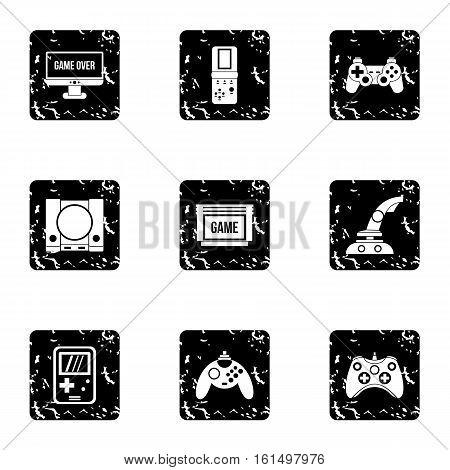 Fantasy games icons set. Grunge illustration of 9 fantasy games vector icons for web