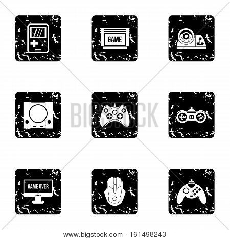 Game online icons set. Grunge illustration of 9 game online vector icons for web