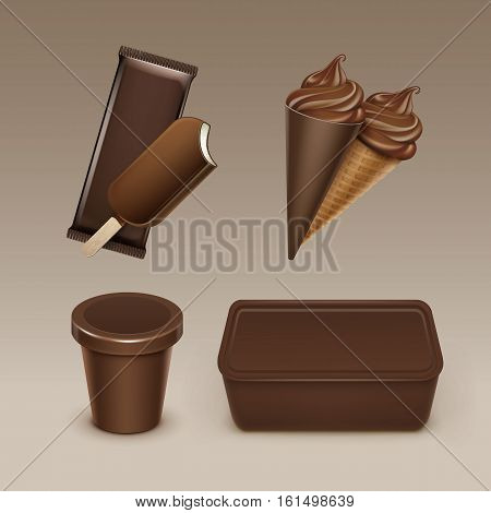 Vector set of Chocolate Popsicle Choc-ice Lollipop Soft Serve Ice Cream Waffle Cone with Plastic Brown Wrapper and Box Container for Package Design Mock up Close up Isolated on Background.