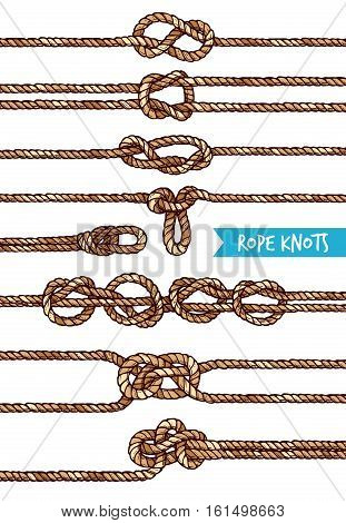 Rope knots set of different nodes and shapes in hand drawn style isolated vector illustration