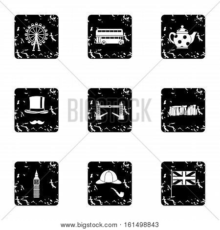 United Kingdom icons set. Grunge illustration of 9 United Kingdom vector icons for web