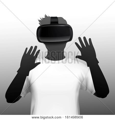 Young man wearing virtual and augmented reality simulation headset and gloves black white silhouette front view  vector illustration