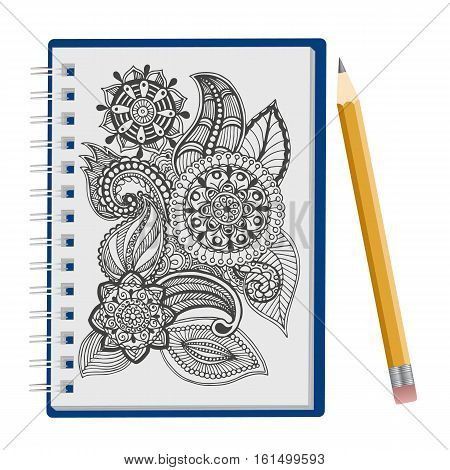 Opened notepad with hand drawn floral ornament and pen isolated on white background, Sketchbook, to-do list, coloring book or diary mockup. Vector illustration.