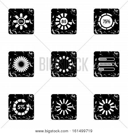 Sign download icons set. Grunge illustration of 9 sign download vector icons for web
