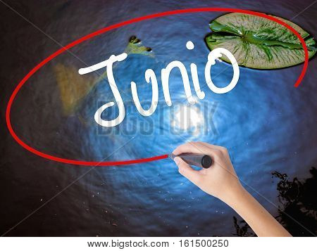 Woman Hand Writing Junio (june In Spanish)   With Marker Over Transparent Board