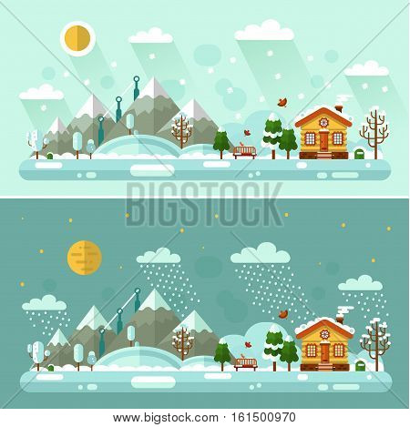 Flat design vector Day and Night nature winter landscapes illustration with cartoon house, bench, sun, mountains, moon, star, bird, cloud, tree, snow, snowfall, snowdrift, icicles.
