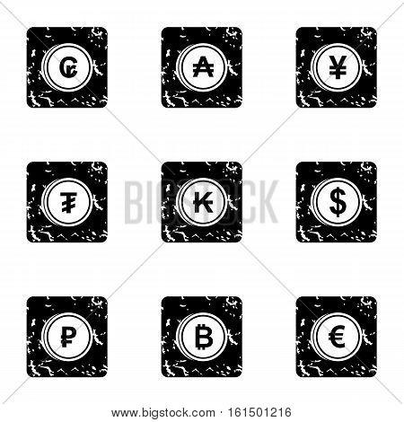 Money of countries icons set. Grunge illustration of 9 money of countries vector icons for web