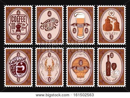 vector set of postage stamps Templates with various drinks
