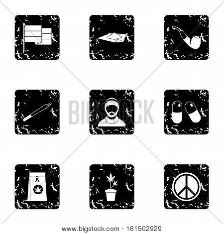 Hemp icons set. Grunge illustration of 9 hemp vector icons for web