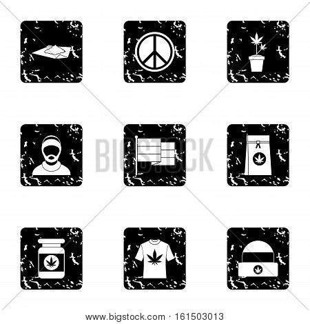 Hashish icons set. Grunge illustration of 9 hashish vector icons for web