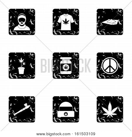 Cannabis icons set. Grunge illustration of 9 cannabis vector icons for web