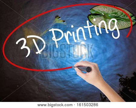 Woman Hand Writing 3D Printing With Marker Over Transparent Board.