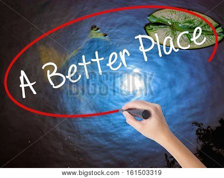 Woman Hand Writing A Better Place With Marker Over Transparent Board