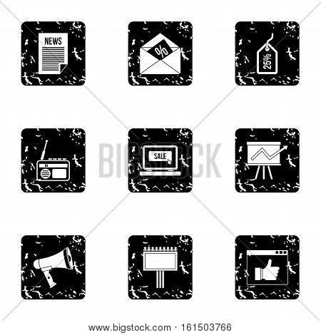 Marketing icons set. Grunge illustration of 9 marketing vector icons for web