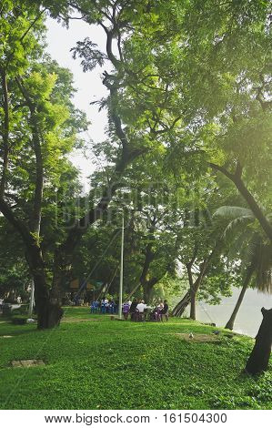 LUMPHINI PARK,BANGKOK,THAILAND-NOVEMBER 10, 2016 : The park offers rare open public space, trees, and playgrounds, Lumphini park is popular area for evening joggers, cycling in bangkok