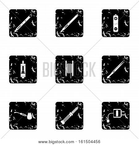 Electronic smoking cigarette icons set. Grunge illustration of 9 electronic smoking cigarette vector icons for web
