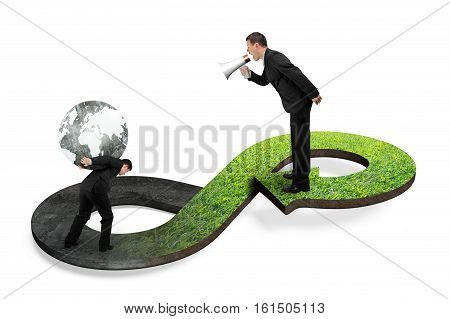 Green circular economy concept. Boss using megaphone yelling at his employee carrying globe on arrow infinity symbol with grass texture.