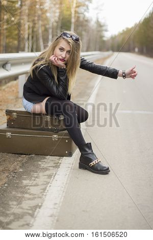 Beautiful Young Girl Hitchhiking