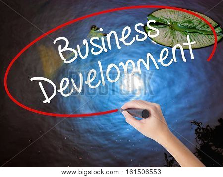 Woman Hand Writing Business Development With Marker Over Transparent Board.