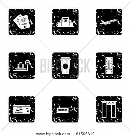 Airport icons set. Grunge illustration of 9 airport vector icons for web