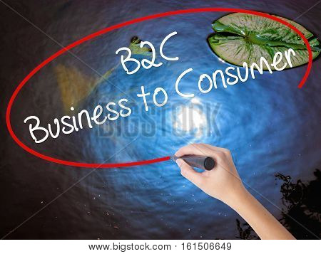 Woman Hand Writing B2C Business To Consumer With Marker Over Transparent Board