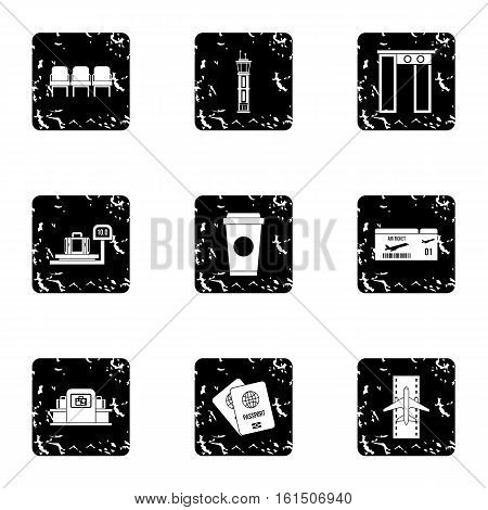 Flights icons set. Grunge illustration of 9 flights vector icons for web