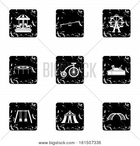 Entertainment for children icons set. Grunge illustration of 9 entertainment for children vector icons for web
