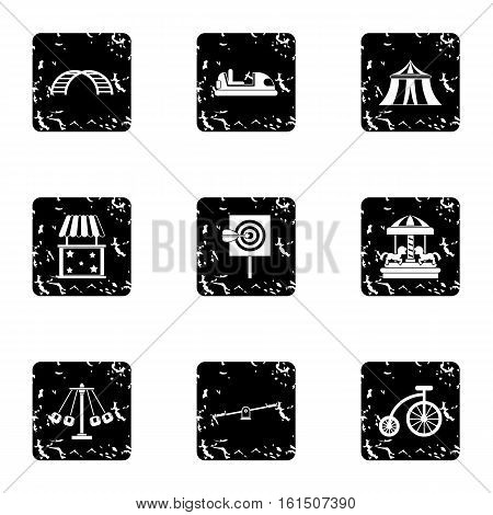 Rides icons set. Grunge illustration of 9 rides vector icons for web
