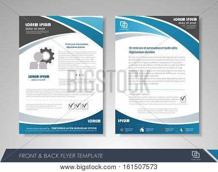 Blue annual report brochure flyer design template. Leaflet cover presentation abstract background for business magazines posters booklets banners. Layout in A4 size. Easily editable vector format.