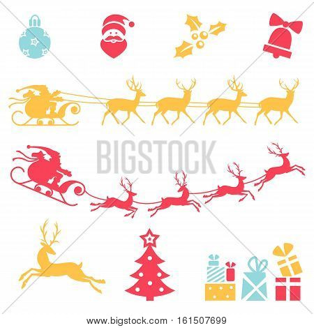 Christmas icons. Vector set of isolated on white background. Santa claus sleigh.