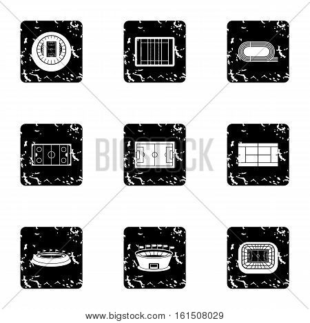 Sports complex icons set. Grunge illustration of 9 sports complex vector icons for web