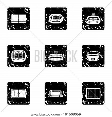 Game at stadium icons set. Grunge illustration of 9 game at stadium vector icons for web