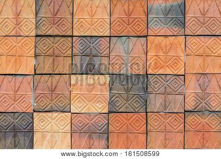 Old vintage earthenware wall tiles patterns handcraft