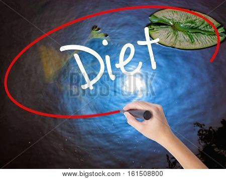 Woman Hand Writing Diet (in Portuguese)  With Marker Over Transparent Board
