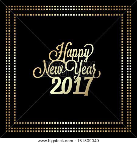 Happy new year 2017 typographic design in golden frame