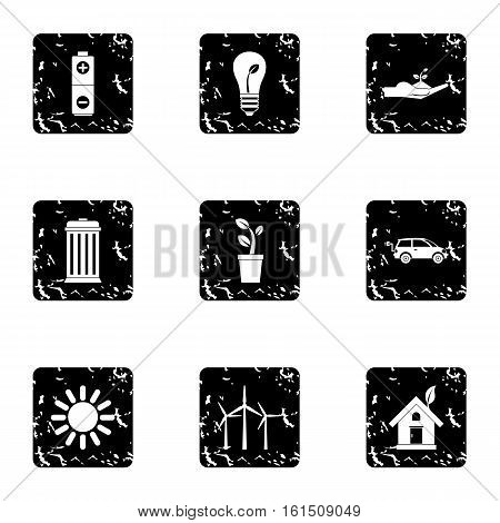 Environment icons set. Grunge illustration of 9 environment vector icons for web