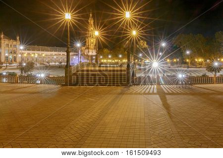 Spanish Square in Sevilla at night. Spain. Andalusia.