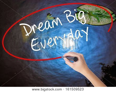Woman Hand Writing Dream Big Everyday With Marker Over Transparent Board