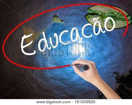 Woman Hand Writing Education (educacao In Portuguese) With Marker Over Transparent Board