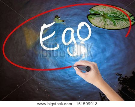 Woman Hand Writing Ego With Marker Over Transparent Board