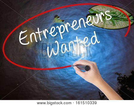 Woman Hand Writing Entrepreneurs Wanted With Marker Over Transparent Board