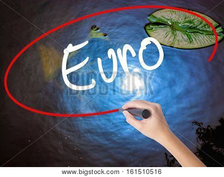 Woman Hand Writing Euro With Marker Over Transparent Board