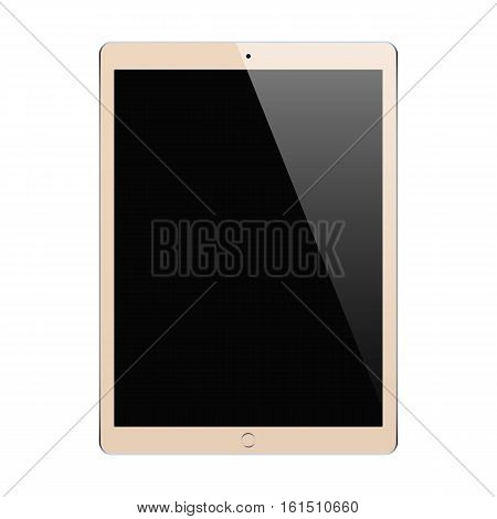 tablet gold color with blank touch screen isolated on white background. stock vector illustration eps10