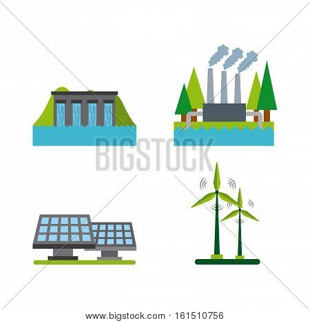 ecology and sustainability icons set over white background. colorful design. vector illustration