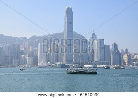 HONG KONG, CHINA - DECEMBER 10, 2016 - Skyline of Hong Kong island from Tsim Sha Tsui promenade