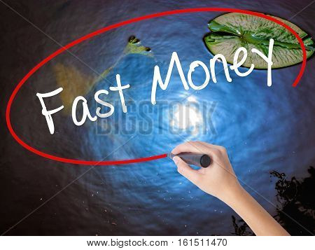 Woman Hand Writing Fast Money  With Marker Over Transparent Board