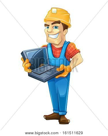 Chef construction engineer man. Builder with laptop, helmet. Isolated on white background. People character.