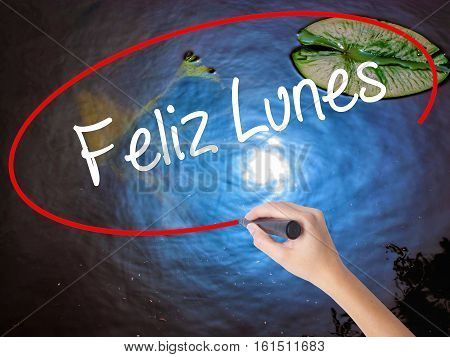 Woman Hand Writing Feliz Lunes (happy Monday In Spanish) With Marker Over Transparent Board