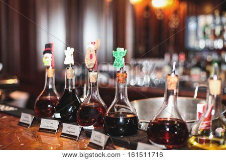 bar restaurant liquor at the drinks alcohol cocktails additives spitnye drinks flask bottle