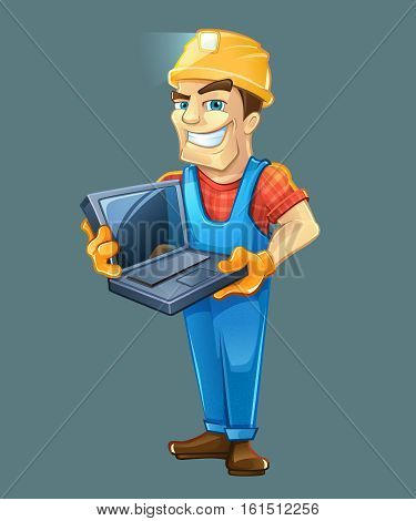 Chef construction engineer man. Builder with laptop, helmet. Isolated on dark background. People character.